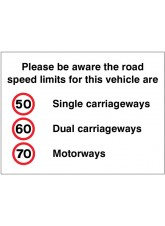 Please be Aware the Road Speed Limits for this Vehicle Are 50 - 60 - 70mph