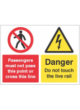 Passengers must not pass this point or cross this line - Danger do not touch the live rail