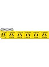 500 x Caution 20-50kg Labels - 50 x 50mm