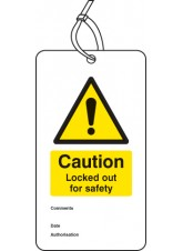 Lockout Tag - Caution Locked Out for Safety - 80 x 150mm (Pack of 10)