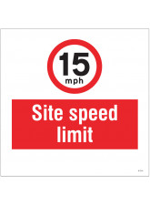 15mph Site Speed Limit - Site Saver Sign - 400 x 400mm