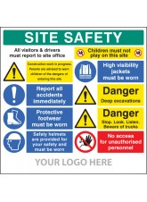 Site Safety Board - Multi-message - Deep Excavations - Site Saver Sign 1220 x 1220mm