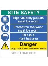 Site Safety Board - Hivis - Footwear - hard Hat - Trucks - Site Saver Sign 1220 x 1220mm