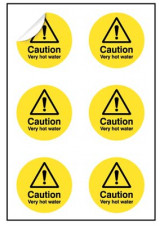 Caution Very Hot Water Labels
