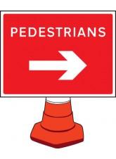 Pedestrians Arrow Right - Cone Sign - 600 x 450mm