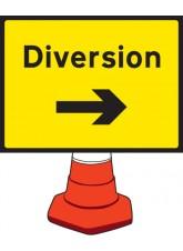 Diversion Right Cone Sign - 600 x 450mm