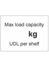 Max load capacity ___kg UDL per shelf