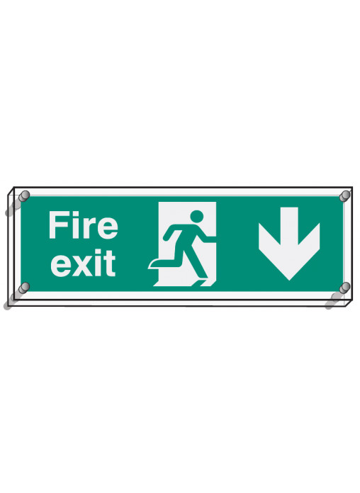 Fire Exit Down Safety Signs Ppe Equipment