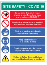 Coronavirus Site Safety Board with 6 Messages